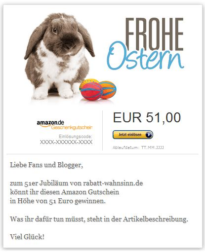 51 Euro Amazon Gutschein gewinnen bei rabatt-wahnsinn.de