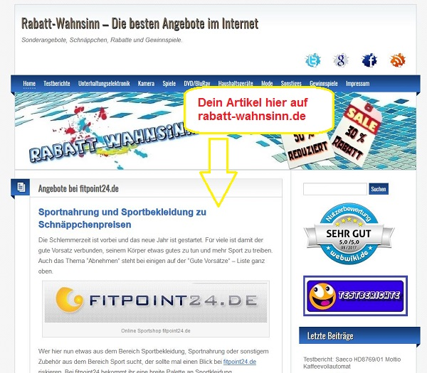 Dein Artikel auf rabatt-wahnsinn.de