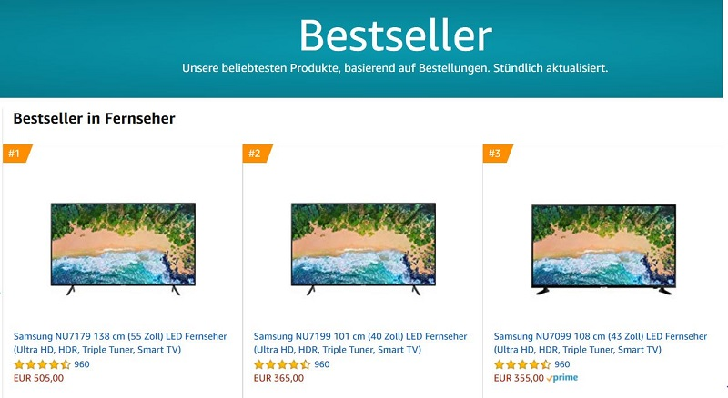 Aktuelle Fernseher Bestsellerliste bei Amazon